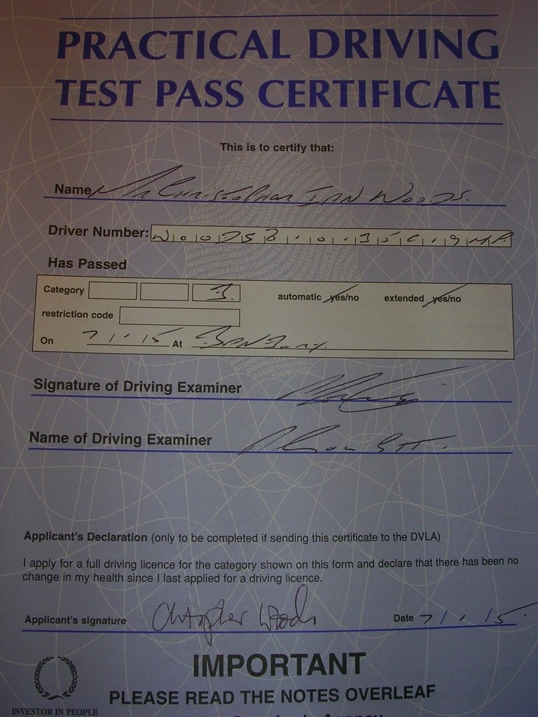 My driving practical test pass certificate